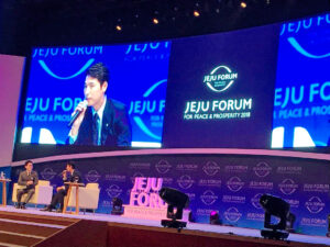 """Goodwill Ambassador – Mr Jung Woo Sung participated in the Forum """"For Peace and Prosperity"""" held in Jeju Island on June 26th, 2018 to share issues about Refugees, helping the Community raise awareness about Refugees."""
